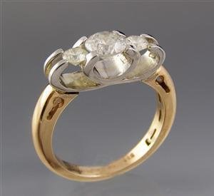 1017: Diamond Ring, H color, 1.05ct