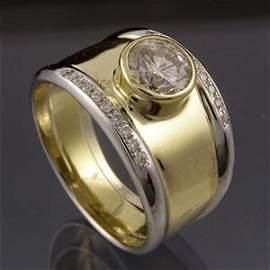1046: Yellow gold diamond ring