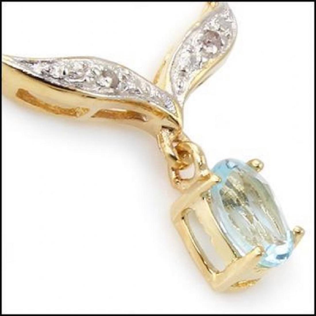 2.91 CT Blue Topaz & Diamond Fine Necklace $820 - 2