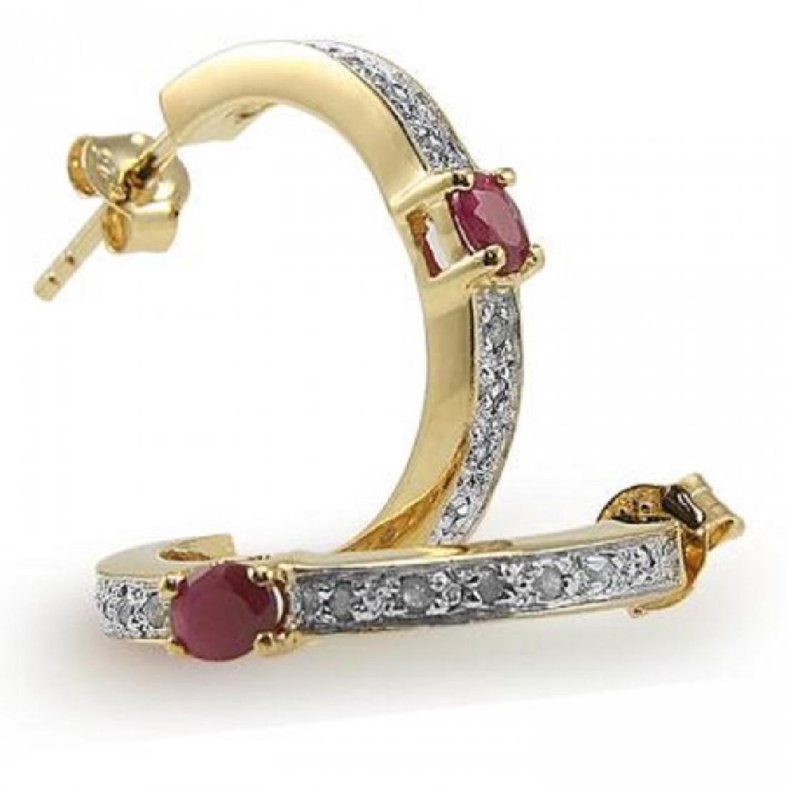 2.39 CTW Ruby & Diamond Designer Earrings - 2