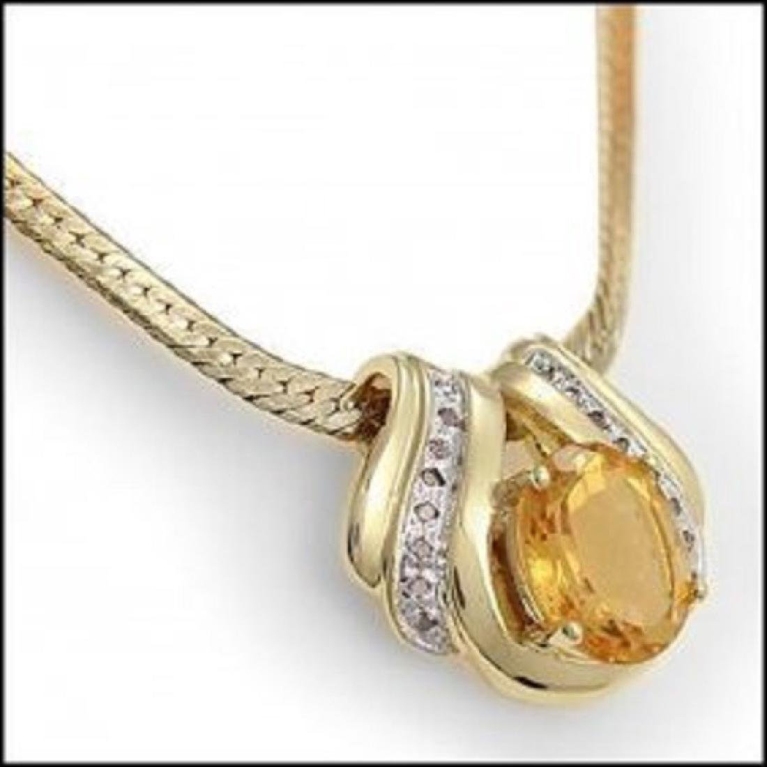 7.49 CT Citrine & Diamond Necklace