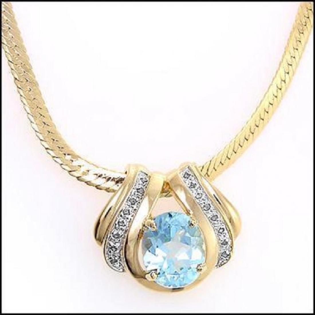 7.49 CT Blue Topaz & Diamond Designer Fine Necklace - 2
