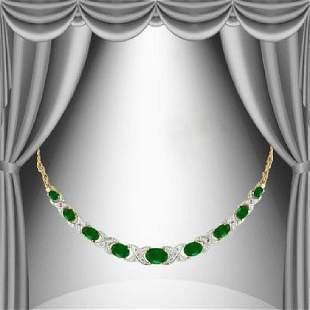 12.89 CT Green Agate & Diamond Elegance Necklace $1,420