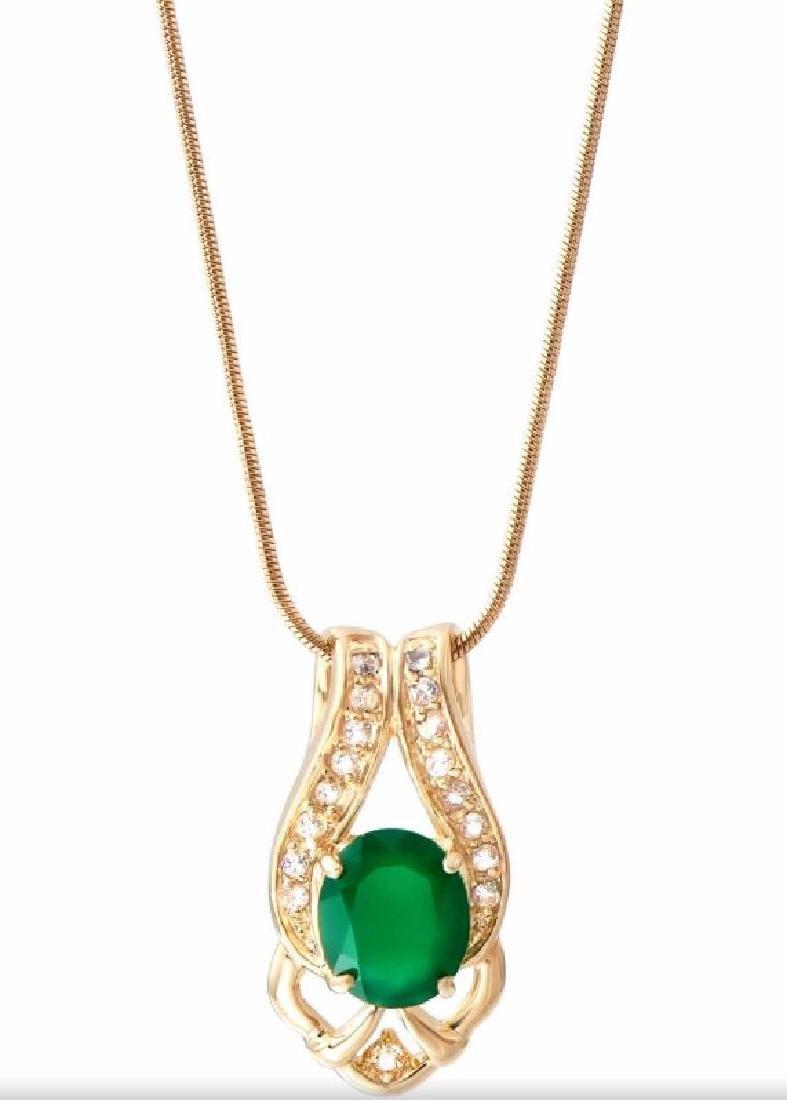 6.69 CTW Green Agate & Diamond Fine Necklace $1075