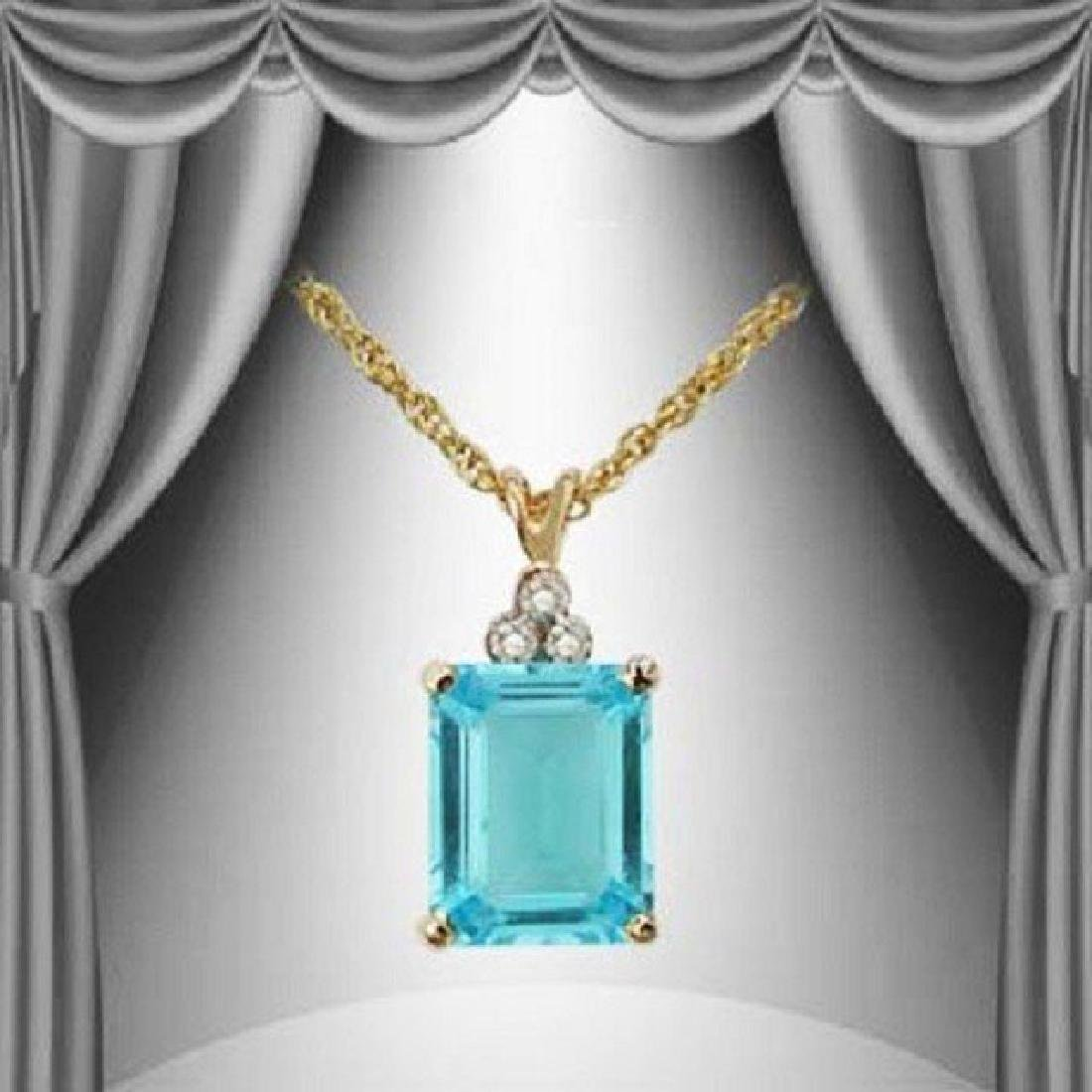 4.71 CT Blue Topaz & Diamond Fine Necklace $845