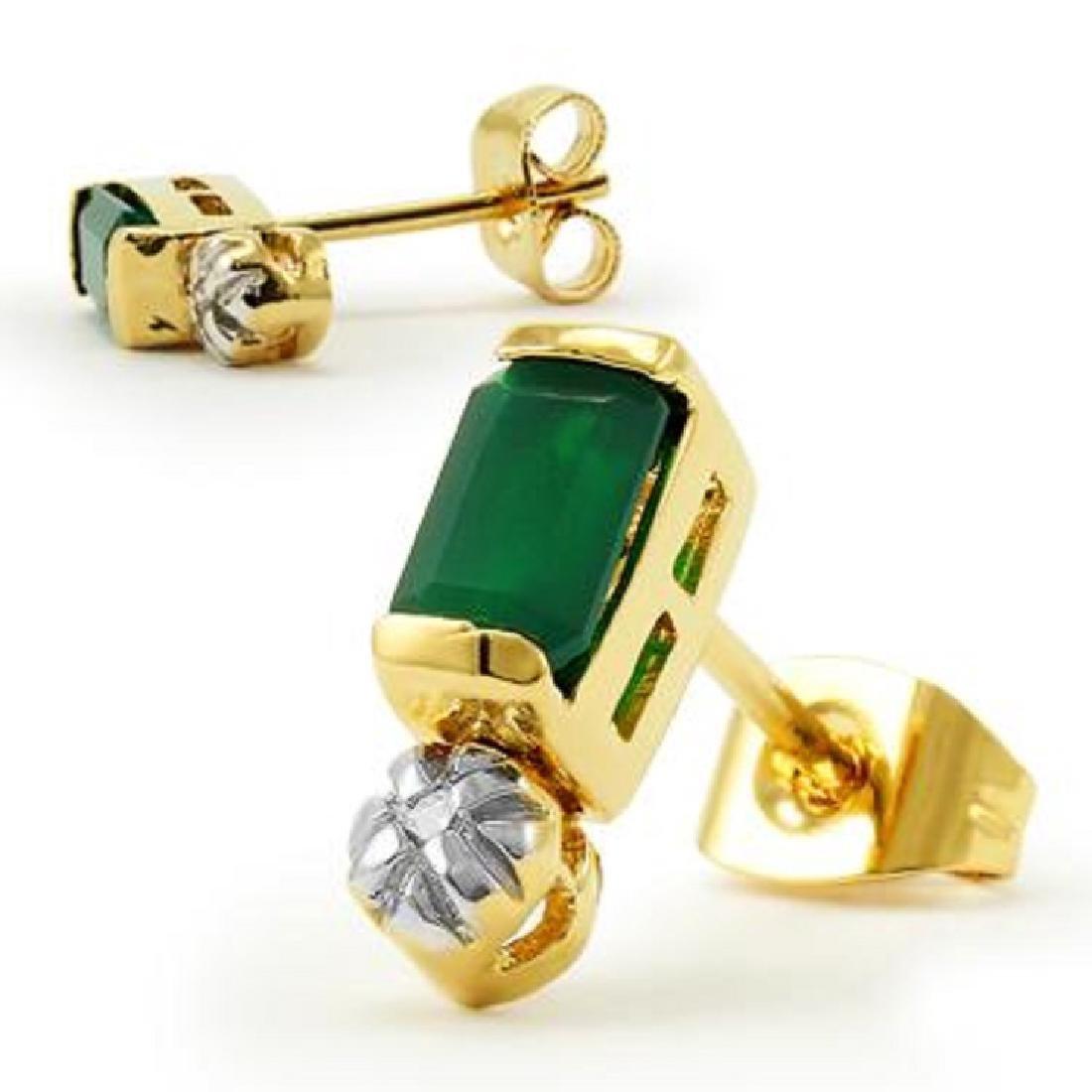 1.3 CT Green Agate Cut Green Agate and Diamond Earrings - 2