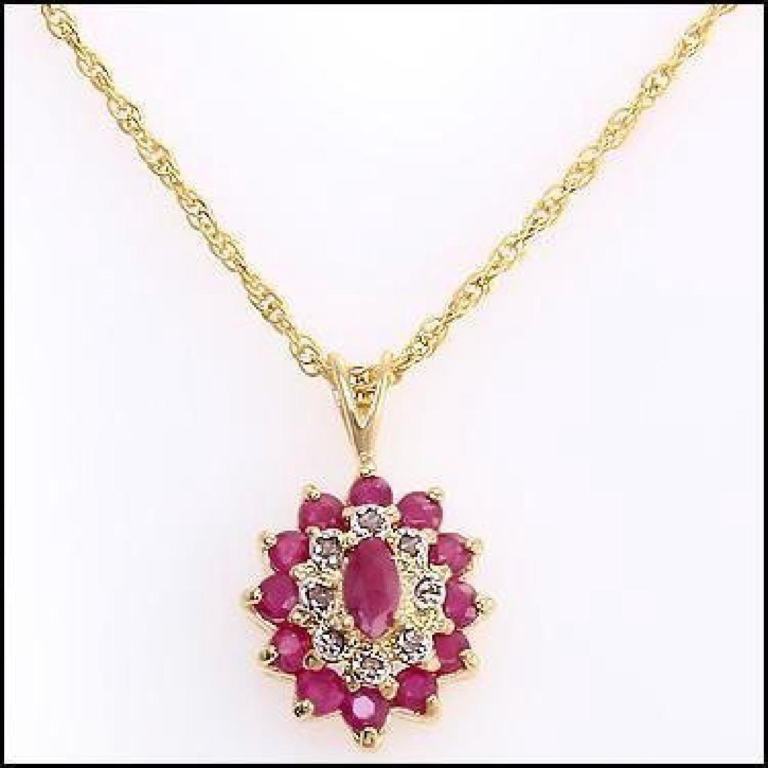 4.02 Ct Ruby & Diamond Designer Necklace - 2