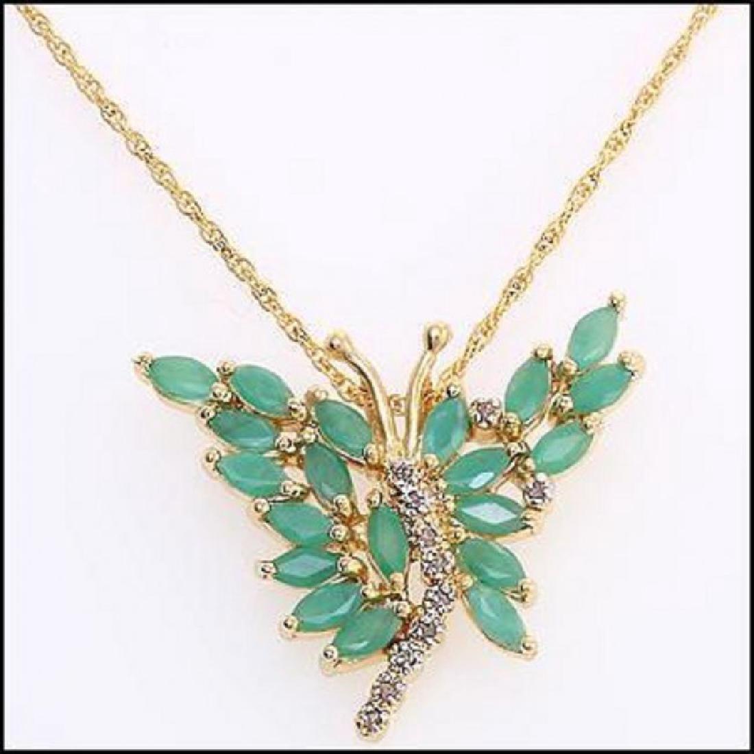 3.89 CT Green Agate & Diamond Designer Necklace $1180 - 2