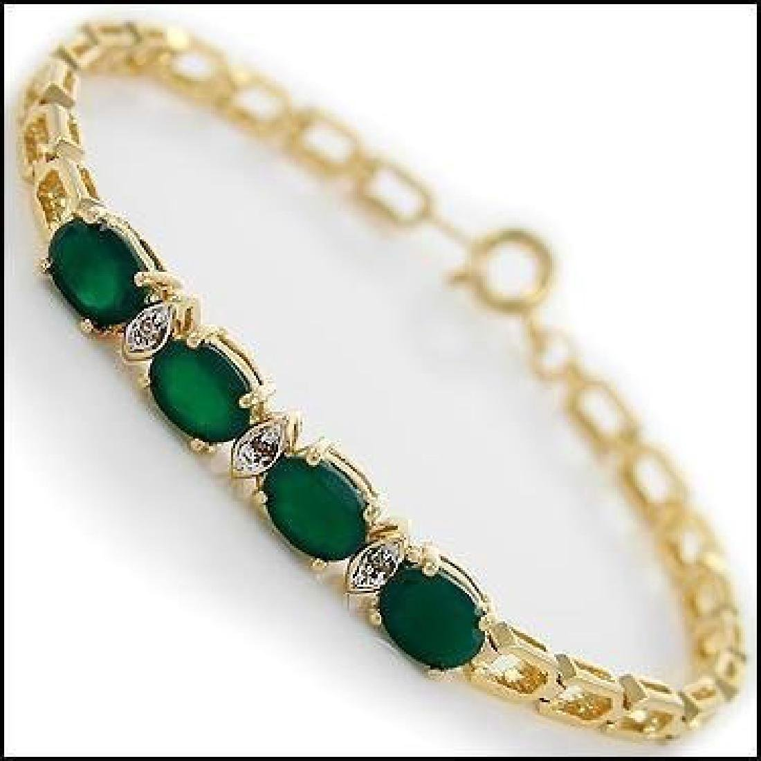 4.09 Ct Green Agate & Diamond Designer Bracelet
