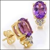 3.76 CT Amethyst & Diamond Designer Earrings MSRP $765