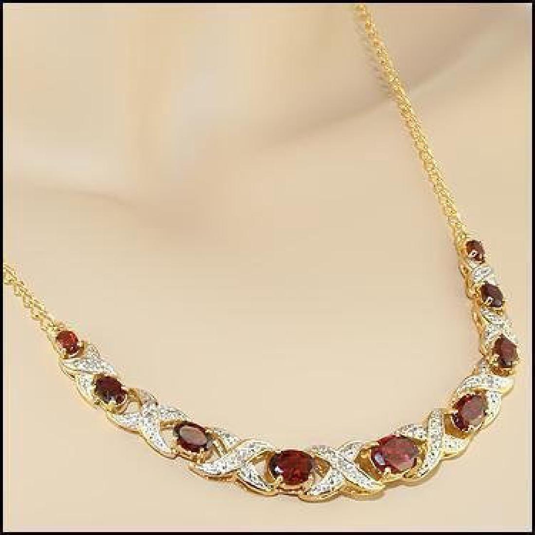 12.19 CT Garnet & Diamond Designer Necklace $1,335
