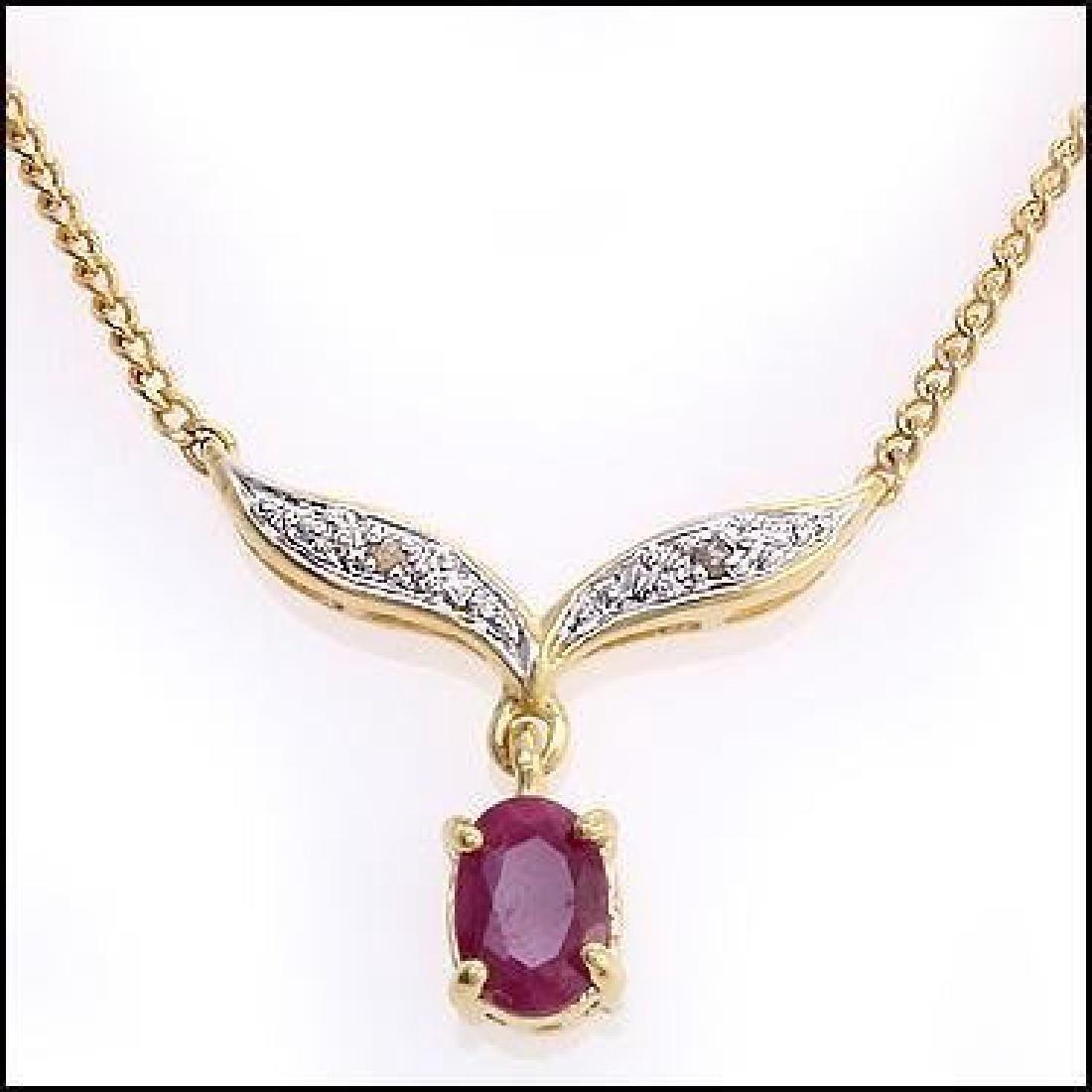 2.91 CT Ruby & Diamond Designer Necklace $855 - 2