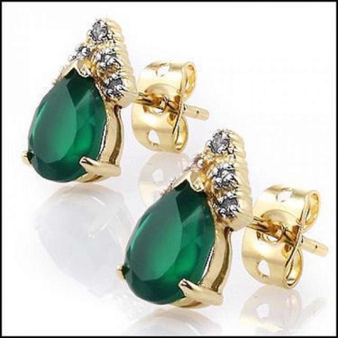 3.34 CTW Green Agate & Diamond Designer Earrings - 2