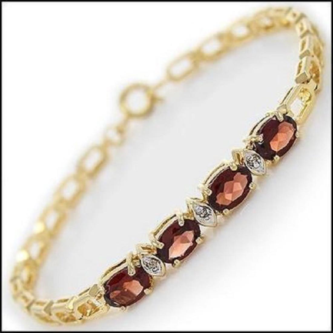 4.39 Ct Garnet Diamond Fine Designer Bracelet MSRP $965