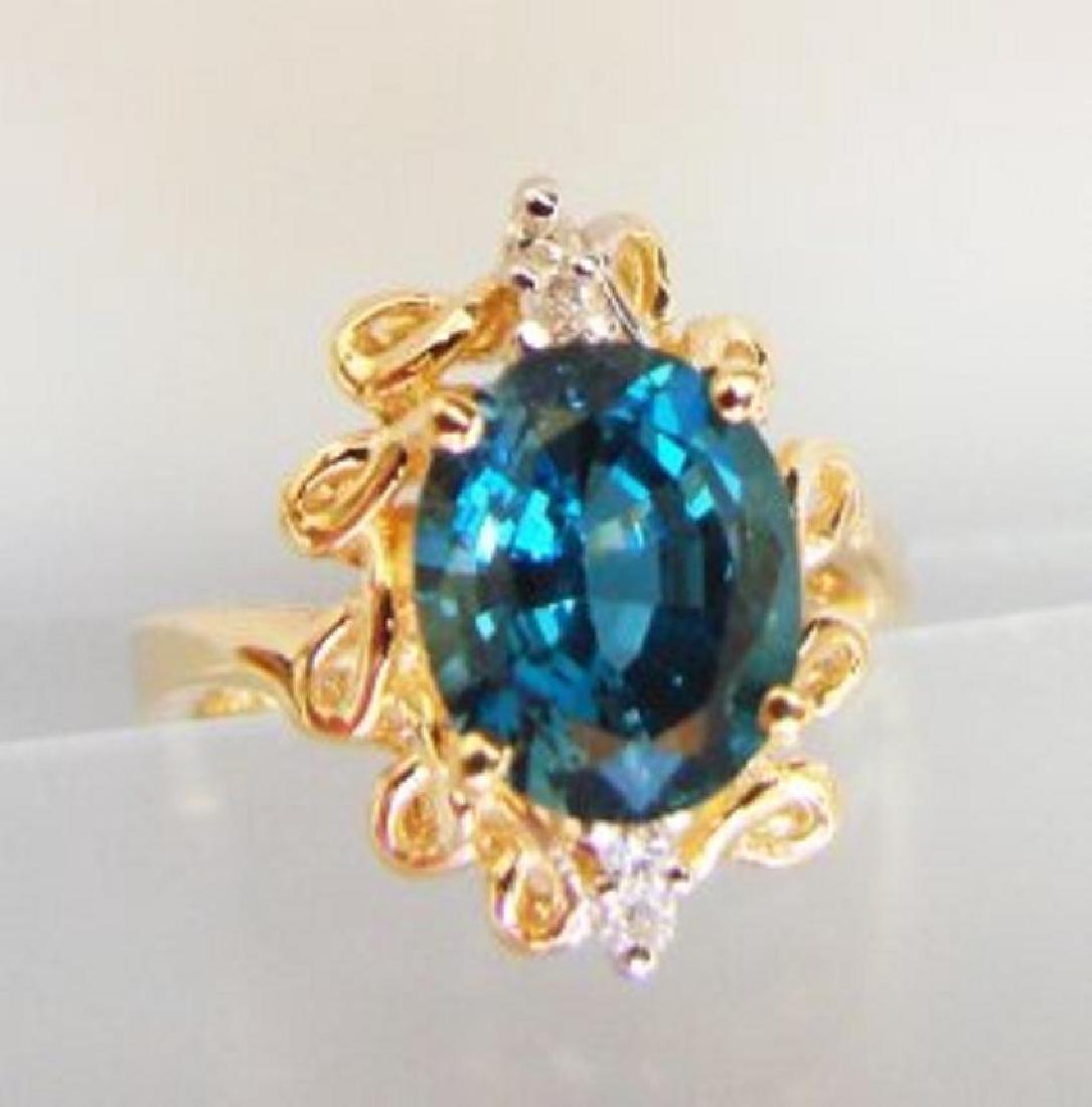 London Blue Topaz & Diamond Ring Appraised $3,800