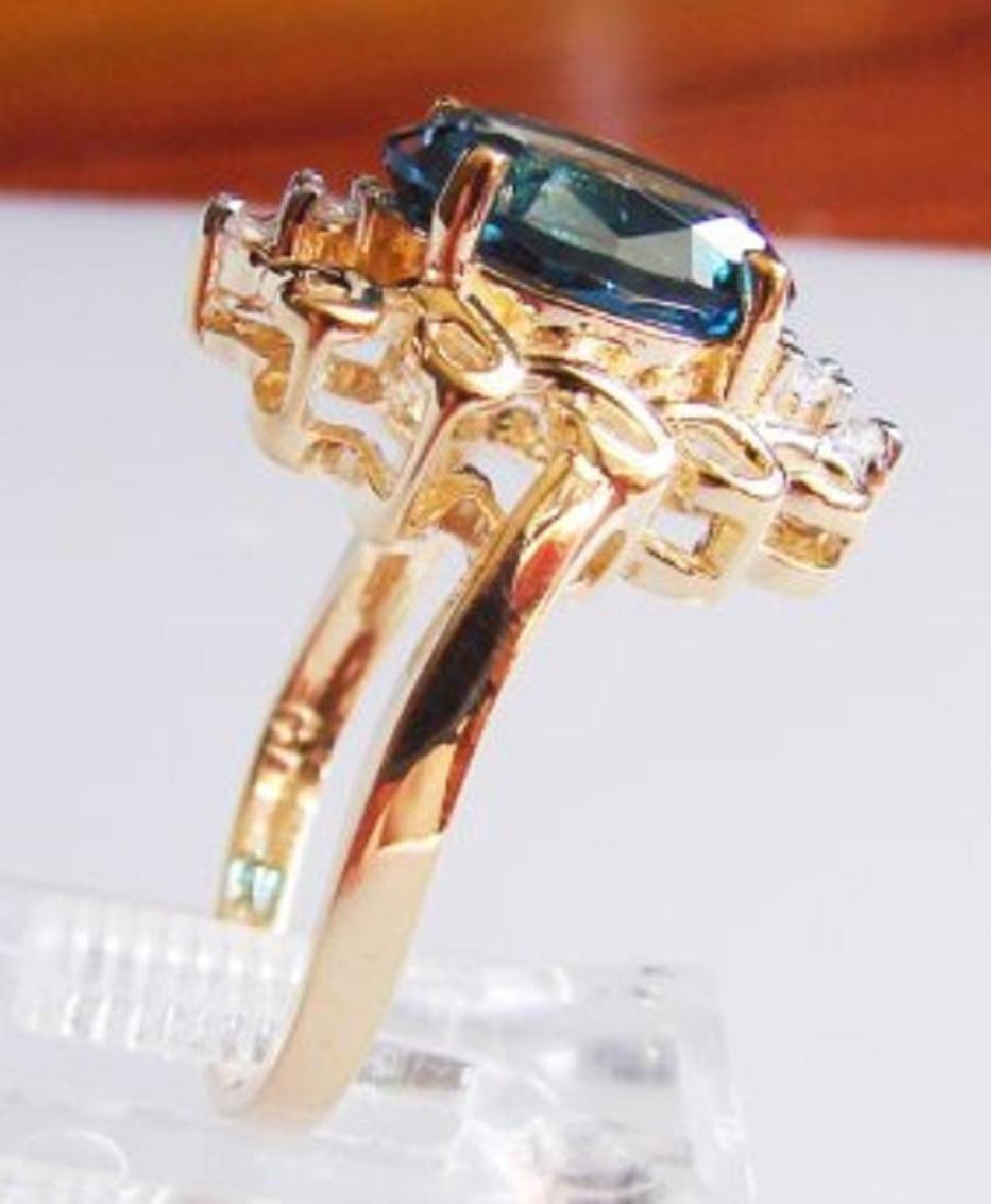 London Blue Topaz & Diamond Ring Appraised $3,800 - 2