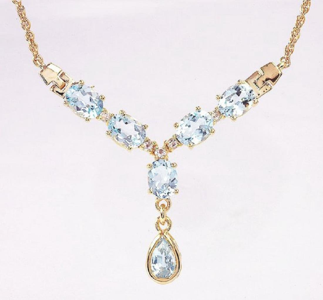 7.14 CT Topaz & Diamond Designer Necklace