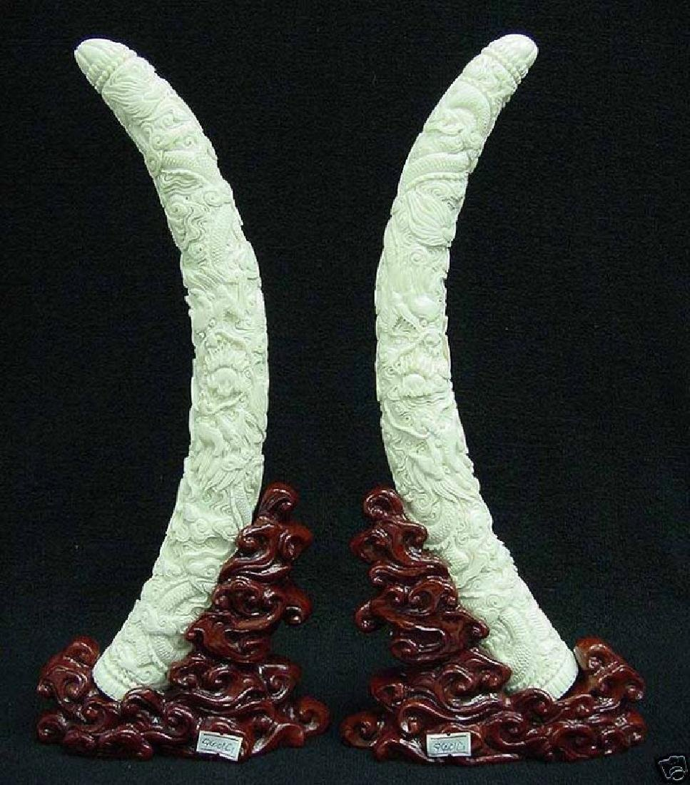 PAIR OF COW BONE DRAGON TUSKS - 4