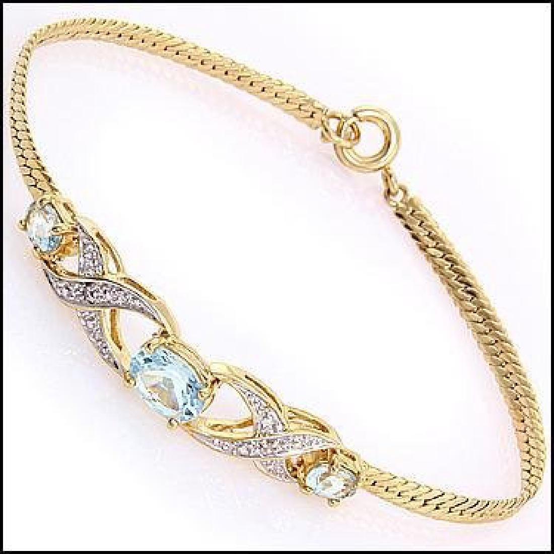 3.89 CTW Blue Topaz & Diamond Fine Bracelet