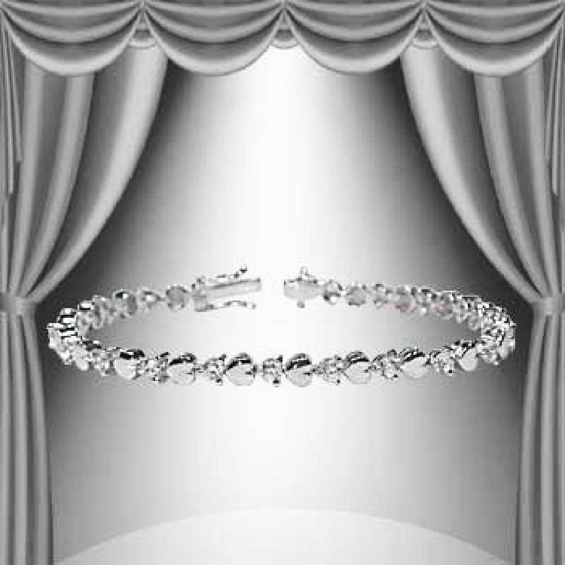 1.23 CTW Diamond and Hearts Silver Tennis Bracelet
