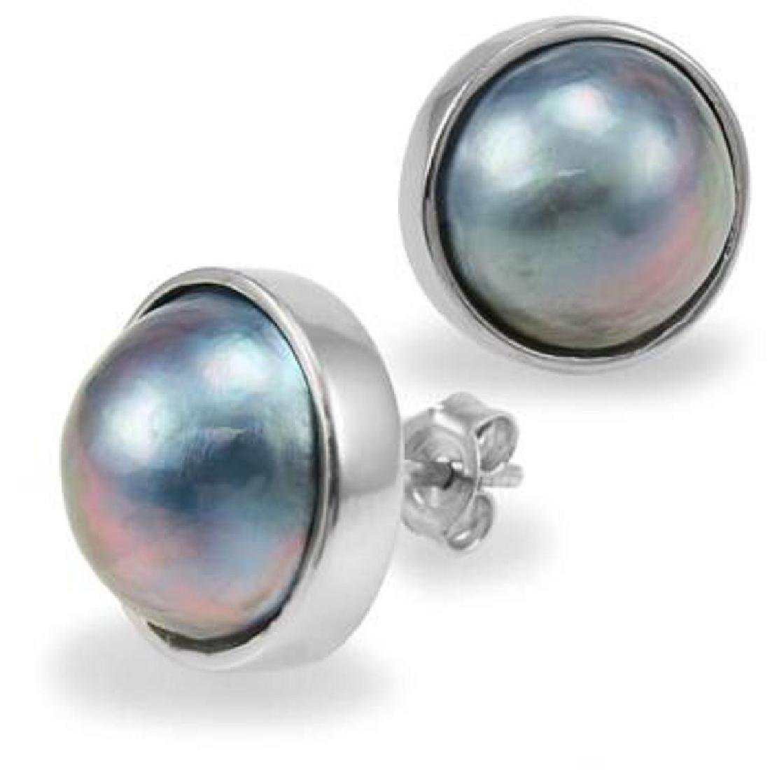 Genuine 12mm Grey Mobe Pearl Stud Earrings - 2
