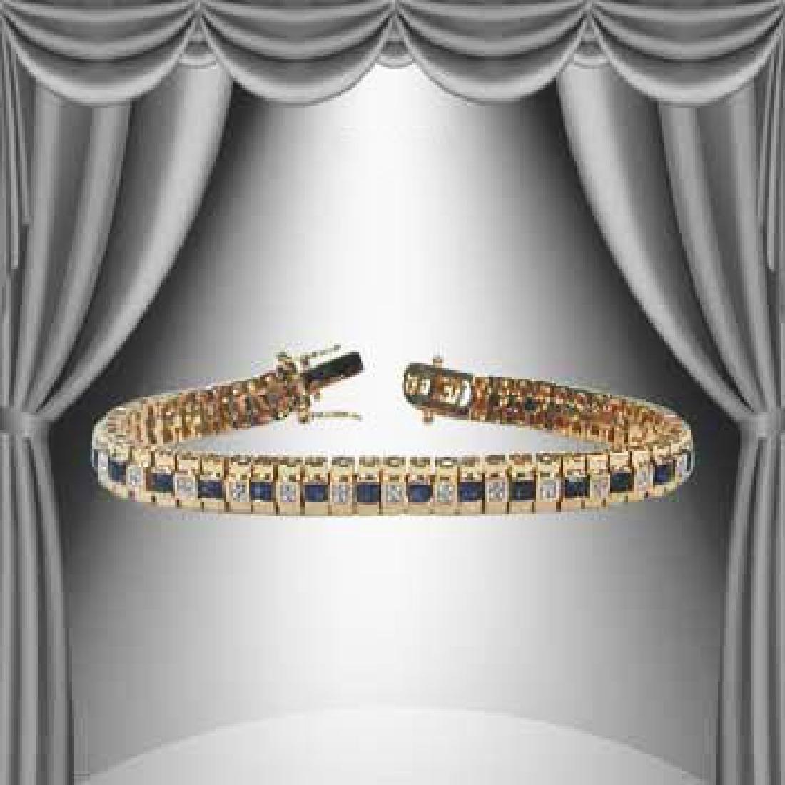 4.77 CT Diamond & Sapphire Tennis Bracelet $1,390