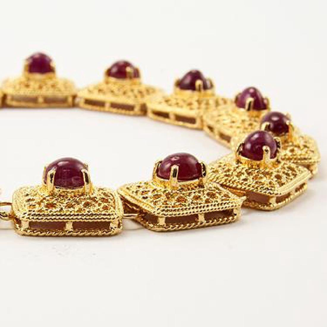 7 CT Cabochon Ruby Gold Bracelet - 2