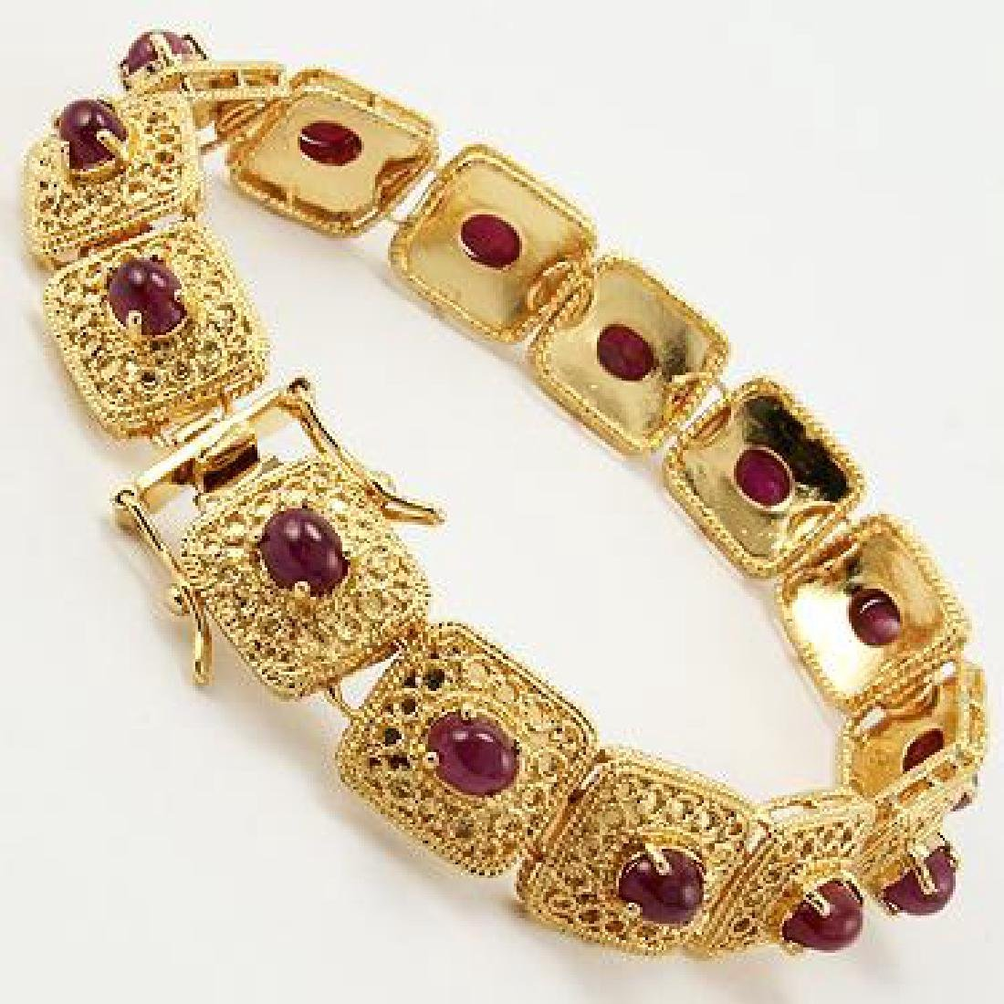 7 CT Cabochon Ruby Gold Bracelet - 3