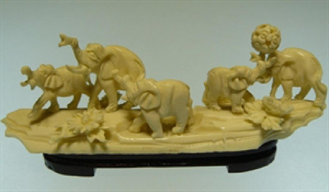 HAND CARVED BONE ELEPHANTS JUNGLE