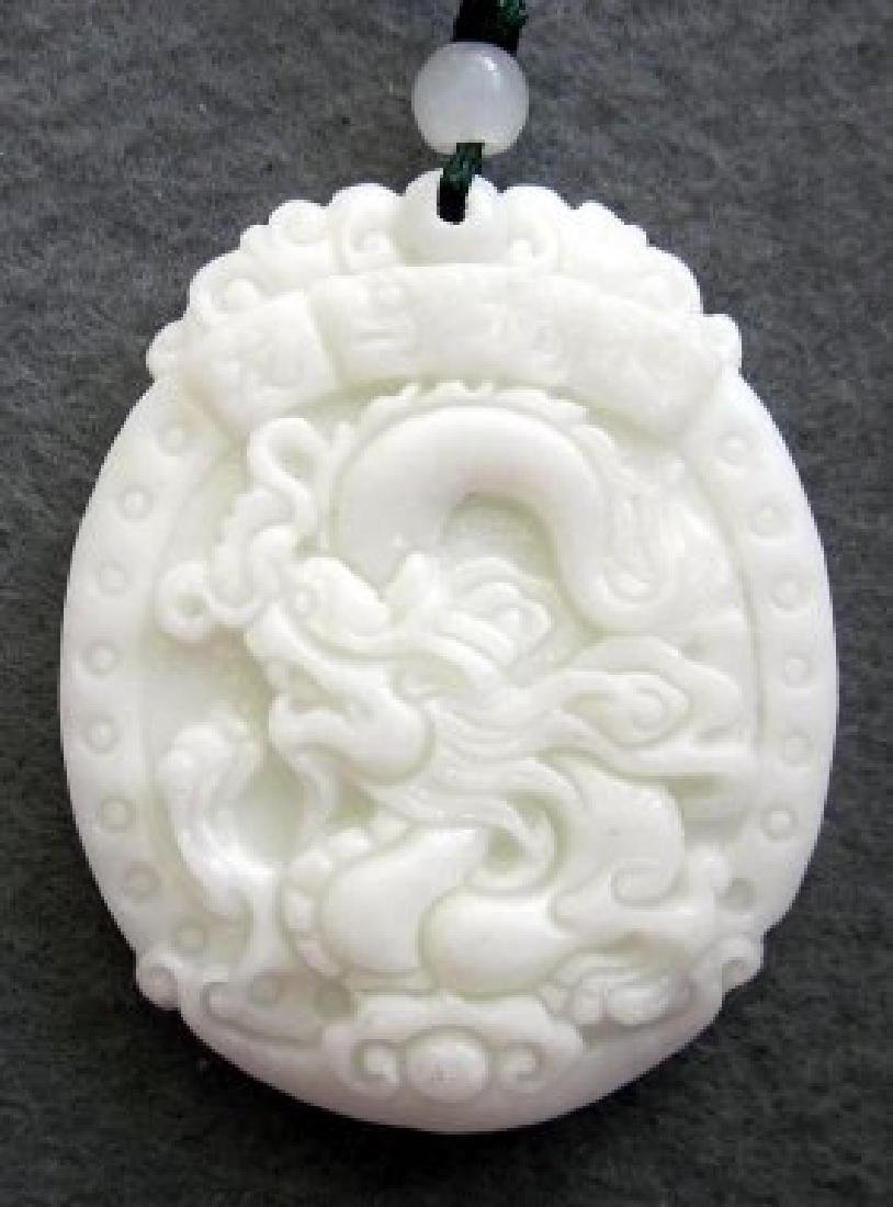 Chinese Jade Dragon Word LONG-MA-JING-SHEN Amulet