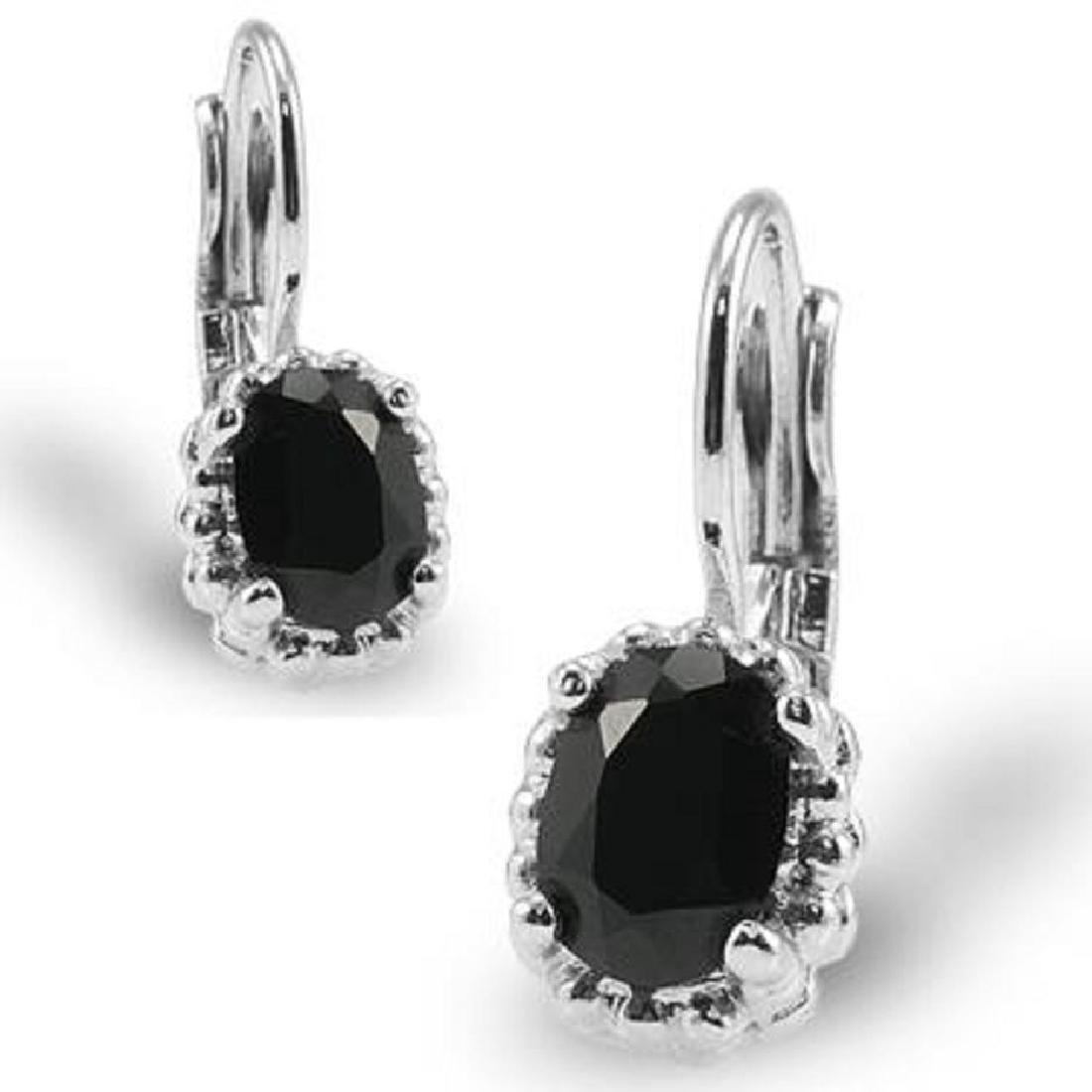Genuine Black Onyx Leverback Earrings