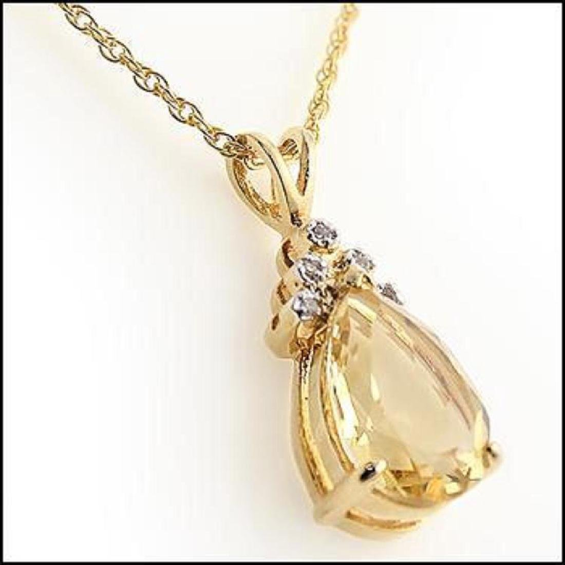 6 CT Citrine Diamond Pendant