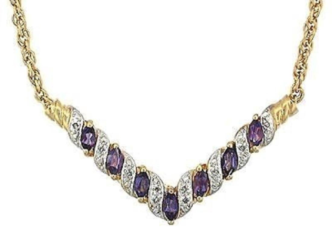 7.19 CT Amethyst & Diamond Designer Fine Necklace