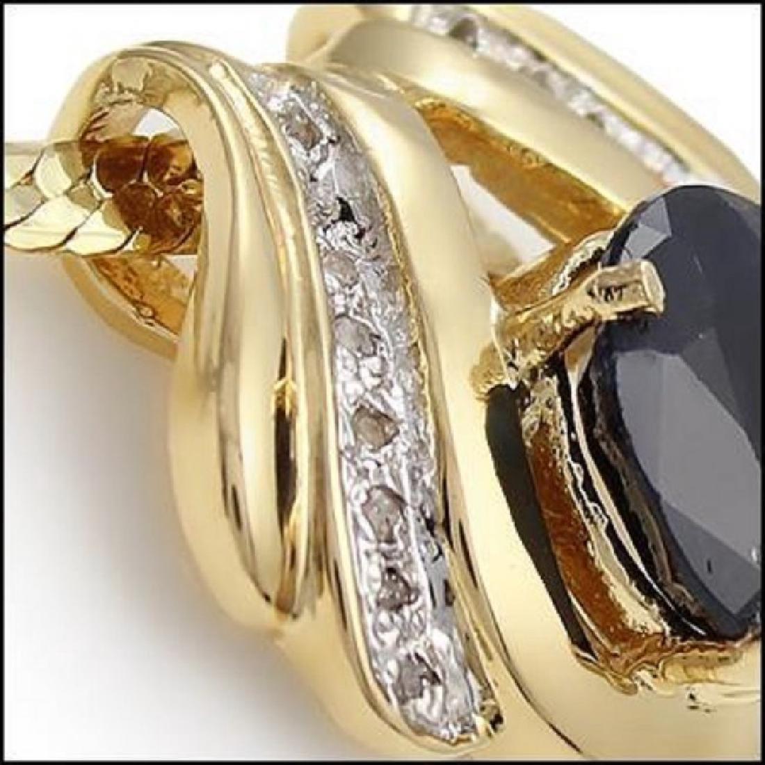 Amazing 7.49 CTW Sapphire & Diamond Fine Necklace - 2