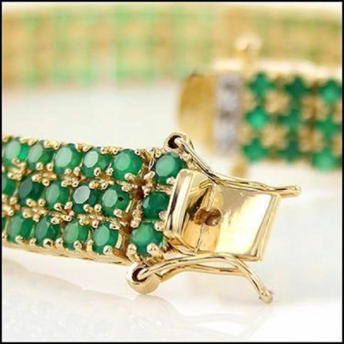 22.19 CT Green Agate & Diamond Designer Bracelet - 3