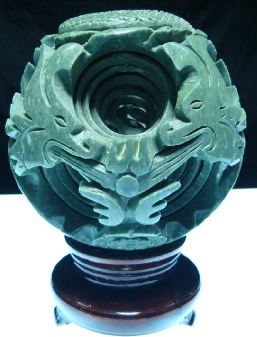 LARGE JADE 8 LAYER DRAGON PUZZLE BALL SPHERE