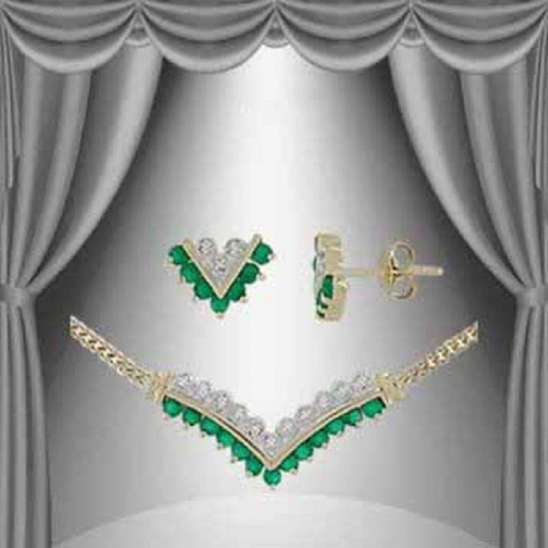 4.32 CT Green Agate & Diamond Designer Set $1265