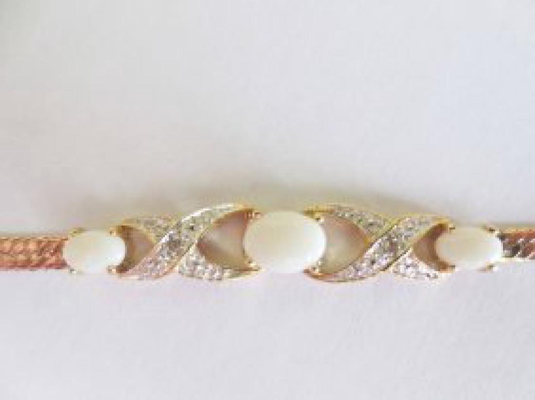 2.79 CT White Indian Opal & Diamond Fine Bracelet - 2