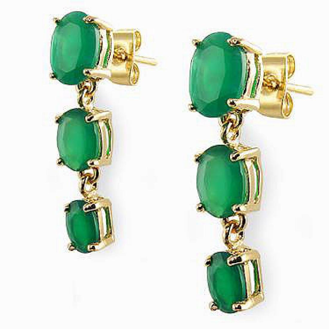 3.9 CT Green Agate Past Present Future Gold Earrings - 2