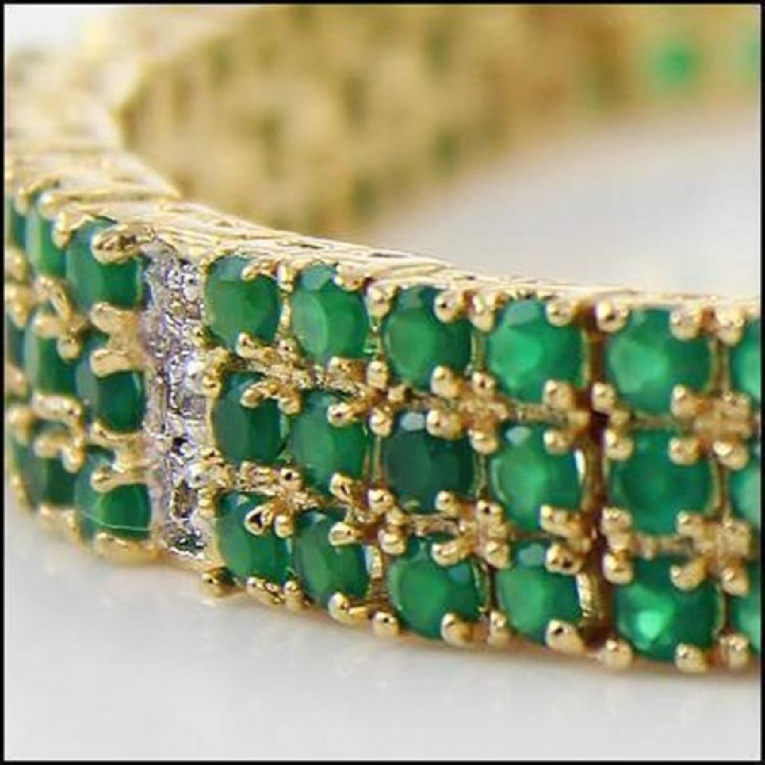 22.19 CT Green Agate & Diamond Designer Bracelet - 2