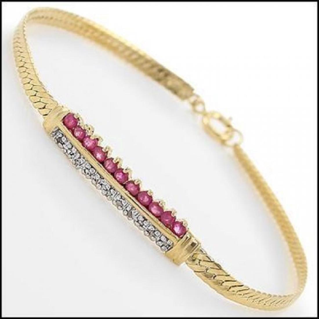 3.39 CT Ruby & Diamond Designer Bracelet $960