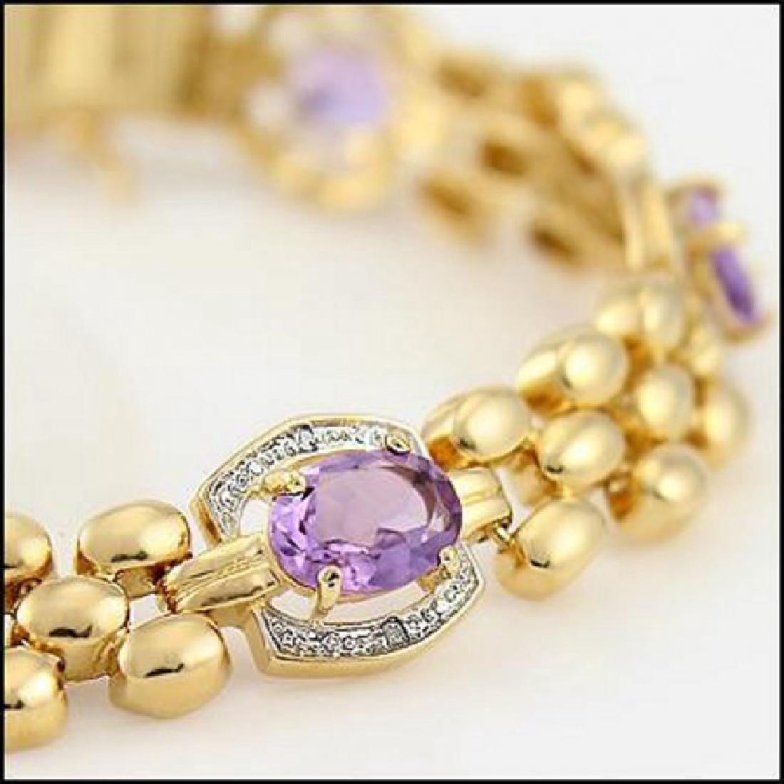 12.37 CT Amethyst & Diamond Designer Bracelet - 2