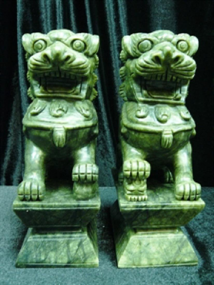 "Handcrafted Pair of 6"" green jade foodogs"