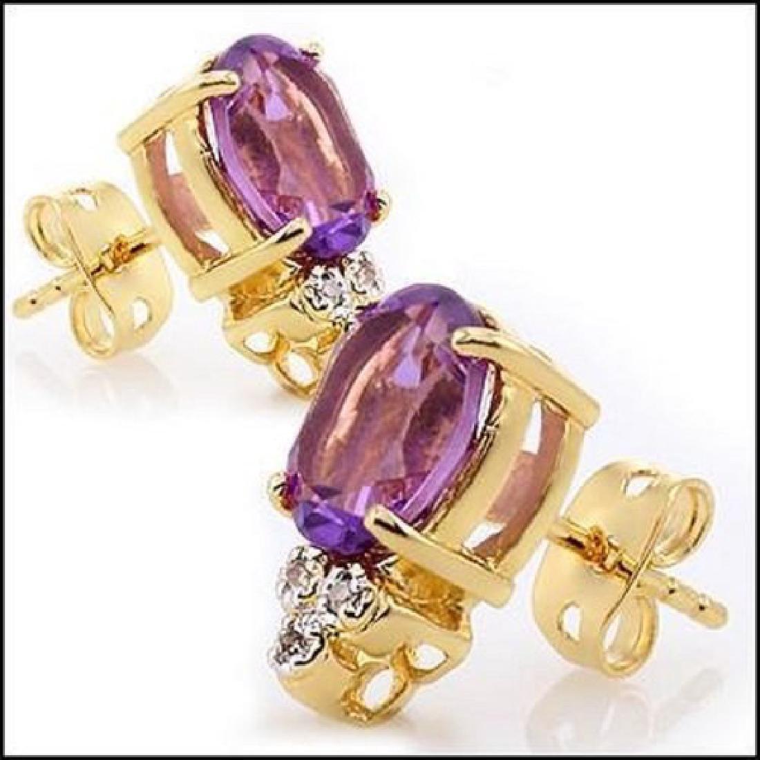 3.76 CT Amethyst & Diamond Designer Earrings MSRP $865 - 2