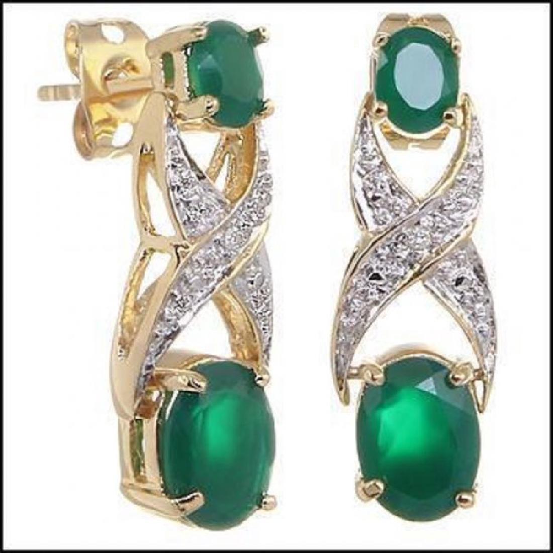 3.28 CT Green Agate & Diamond Designer Earrings