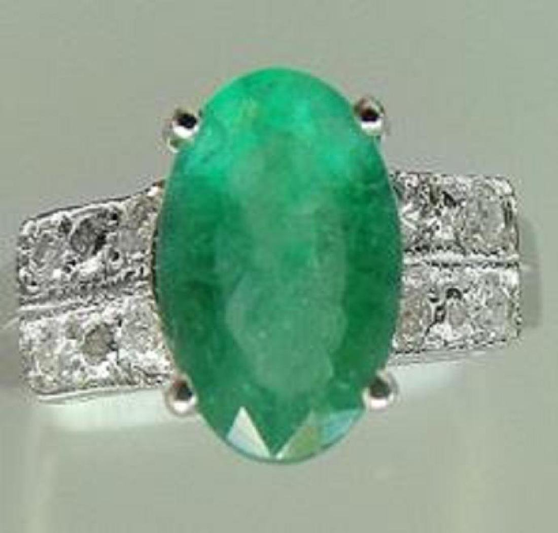 1.65 CT Emerald Diamond Ring Appraised $9,450