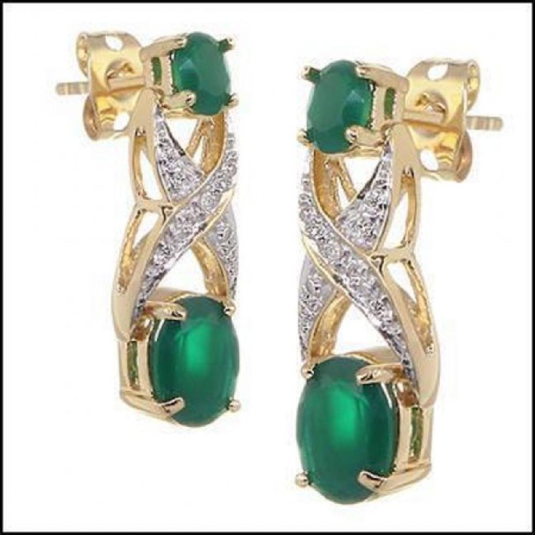 3.28 CT Green Agate & Diamond Designer Earrings - 2