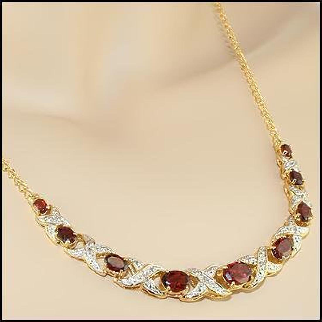 12.19 CT Garnet & Diamond Designer Necklace $1,335