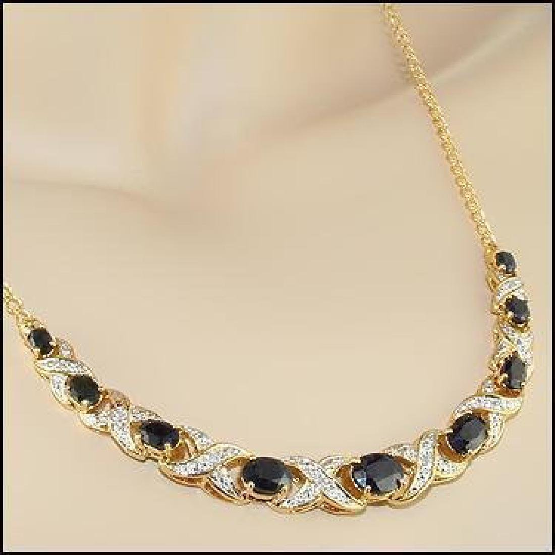 12.37 CT Sapphire & Diamond Designer Necklace $1,415