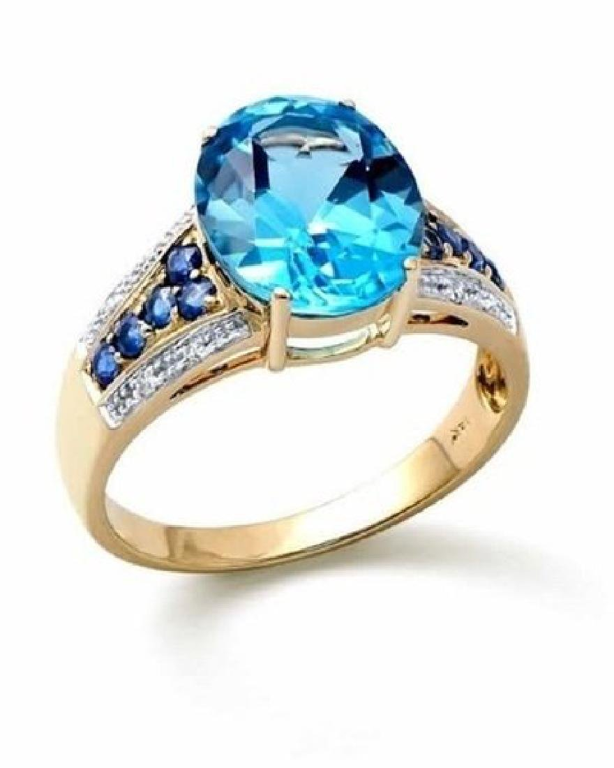 4.08 Ct Certified Topaz, Sapphire & Diamond Ring $4,257
